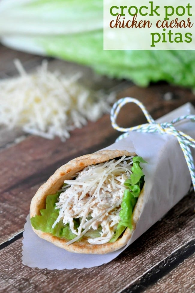 Crock Pot Chicken Caesar Pitas