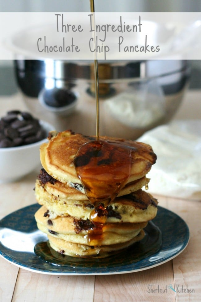 Three Ingredient Chocolate Chip Pancakes