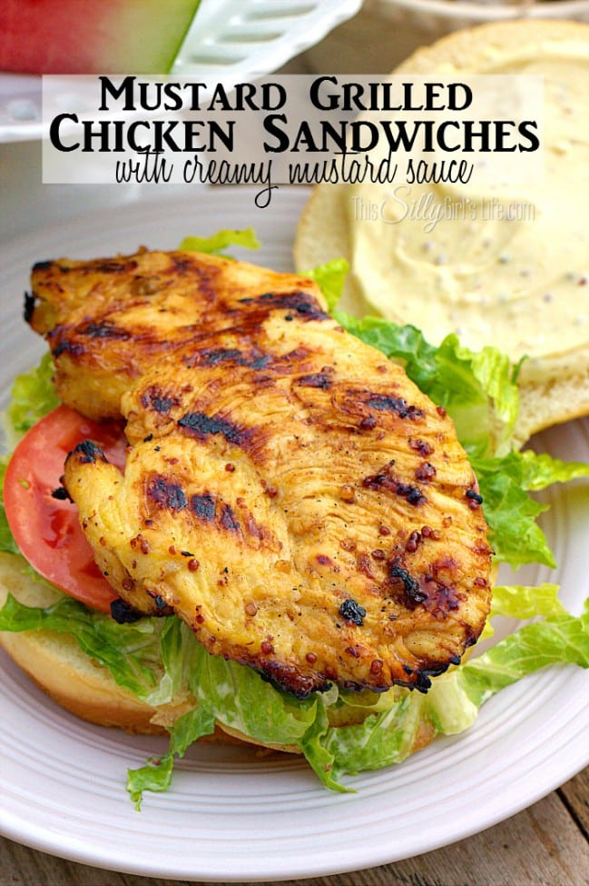 Mustard Grilled Chicken Sandwiches with Creamy Mustard Sauce