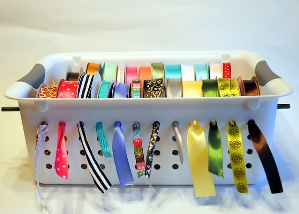Hang Ribbon in a Slotted Tupperware Bin