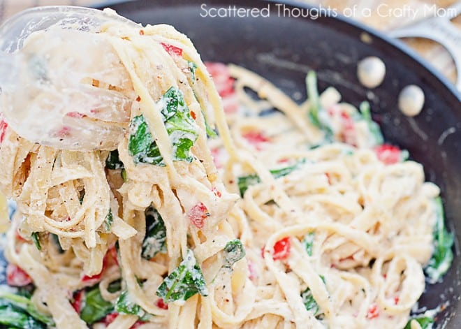 Lemon Ricotta Pasta with Spinach and Red Peppers