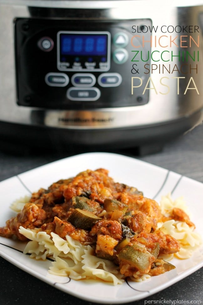 Slow Cooker Chicken Zucchini & Spinach Pasta