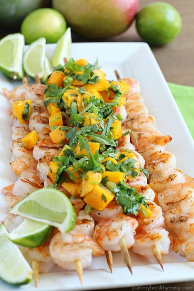 Healthy Grilled Shrimp Skewers with Mango Salsa
