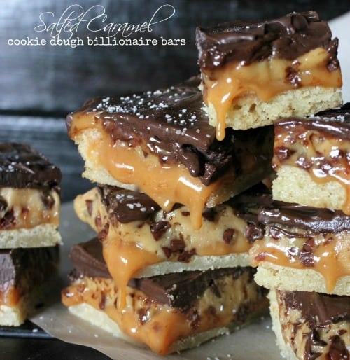 23 Salted Caramel Cookie Dough Billionaire Bars
