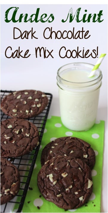 Andes Mint Dark Chocolate Cake Batter Cookies