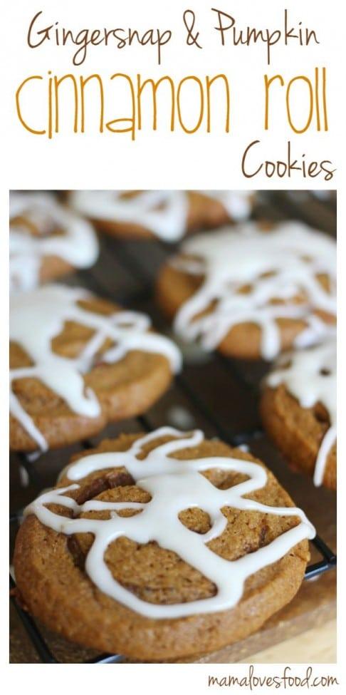 Gingersnap & Pumpkin Cinnamon Roll Cookies