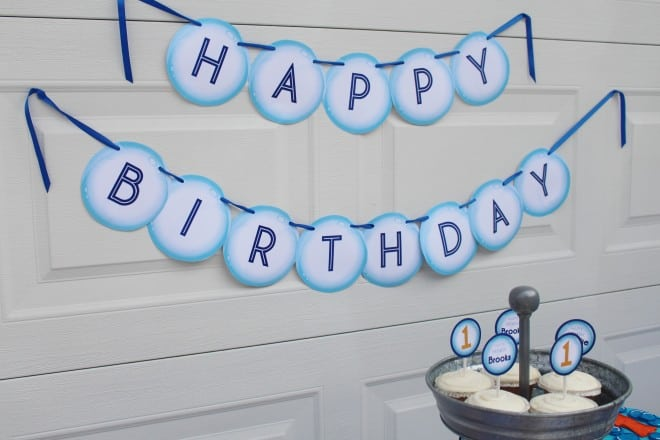 Boys Bubble Themed Birthday Party Banner