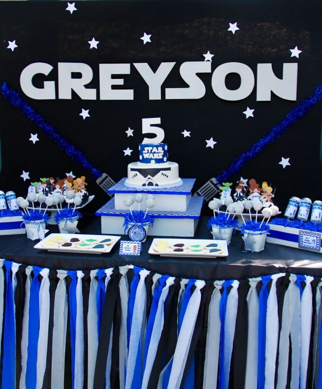 Boys Star Wars Themed Birthday Party Dessert Table Ideas