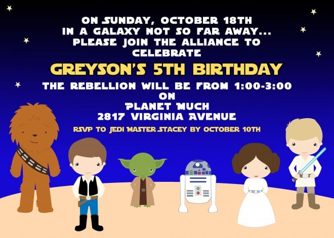 Boys Star Wars Themed Birthday Party Invitation Ideas