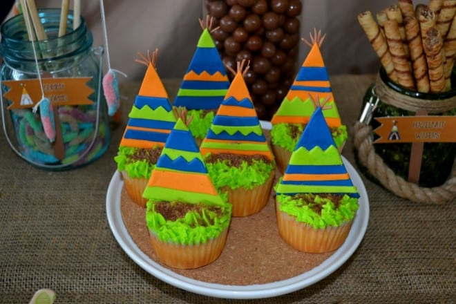 Boys Woodland Themed Camping Cupcake Party Food