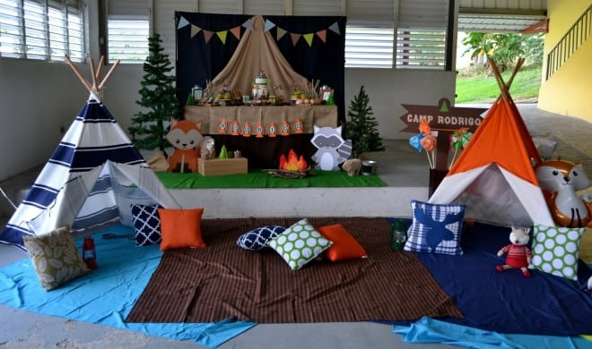 Woodland Themed Camping Birthday Party Spaceships And