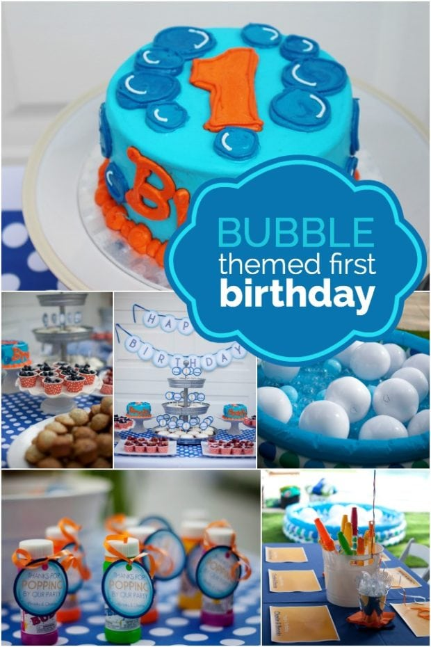 A bubble themed first birthday spaceships and laser beams for Baby boy 1st birthday decoration ideas