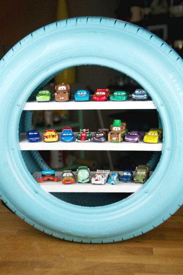 Car Tire Shelving DIY