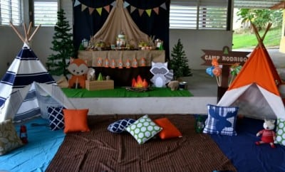 feature-Boys Woodland Themed Party Camping Decorations