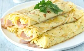 Herb Crepes with Ham, Swiss, Eggs & Browned Butter