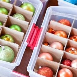 A box filled with different types of food, with Christmas ornament