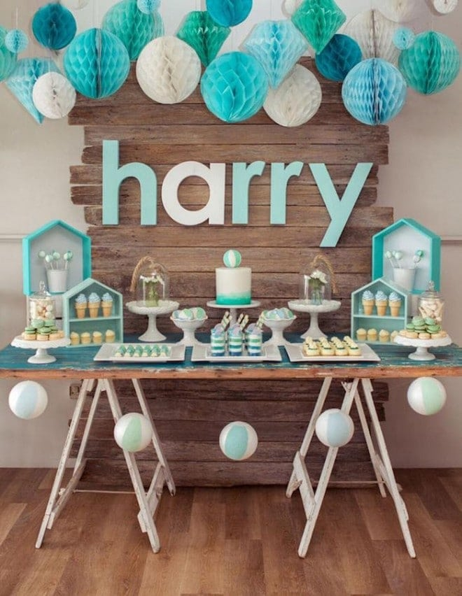 Boy's-Rustic-Beach-Ball-Theme-Birthday-Party