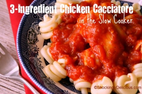 3 Ingredient Chicken Cacciatore in the Slow Cooker
