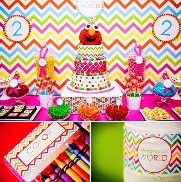 Girly Elmo Birthday Party Dessert Table