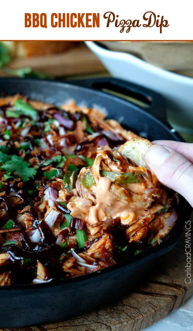 What could be better than this BBQ Chicken Pizza Dip?