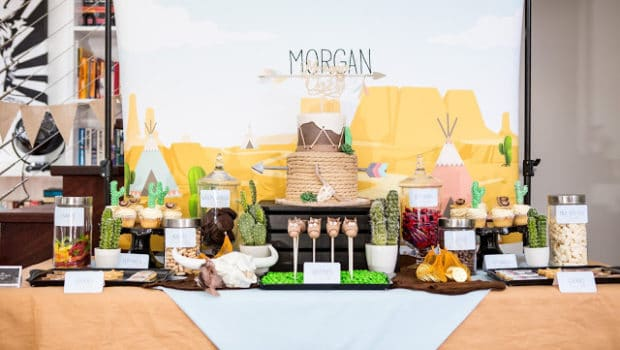 cowboy themed birthday party dessert table