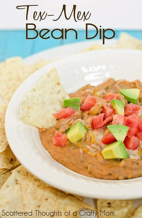 What could be better than this Tex-Mex bean dip for a tasty snack at your next gathering.
