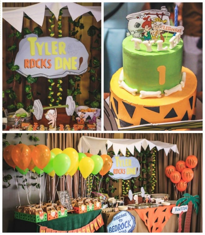 Boy's-1st-Flintstones-Themed-Birthday-Party