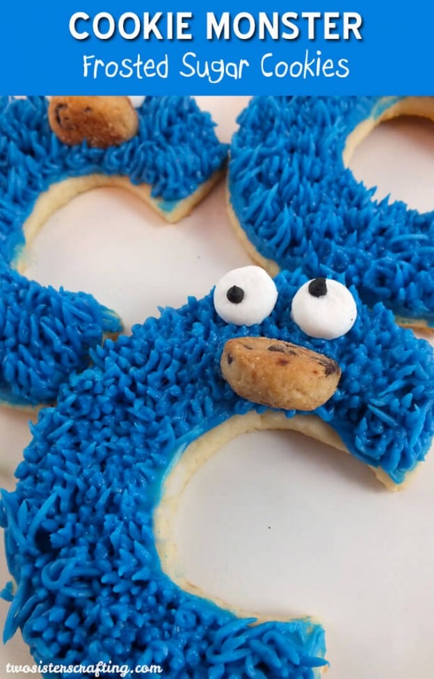 Cookie Monster Frosted Sugar Cookies