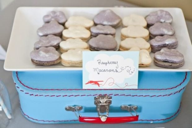 Airplane THemed Boys Birthday Party Food Raspberry Macaroons