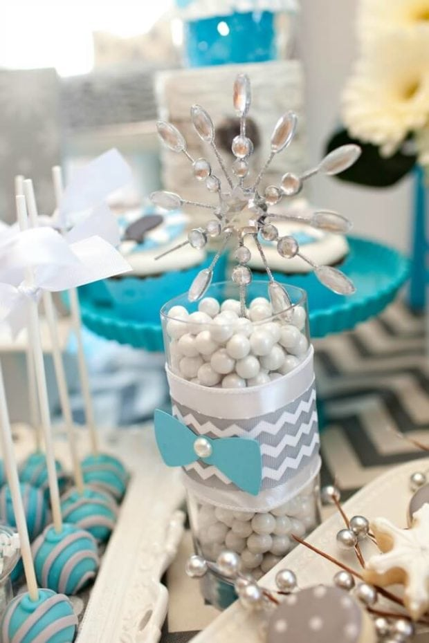 Bow Tie themed birthday party candy ideas