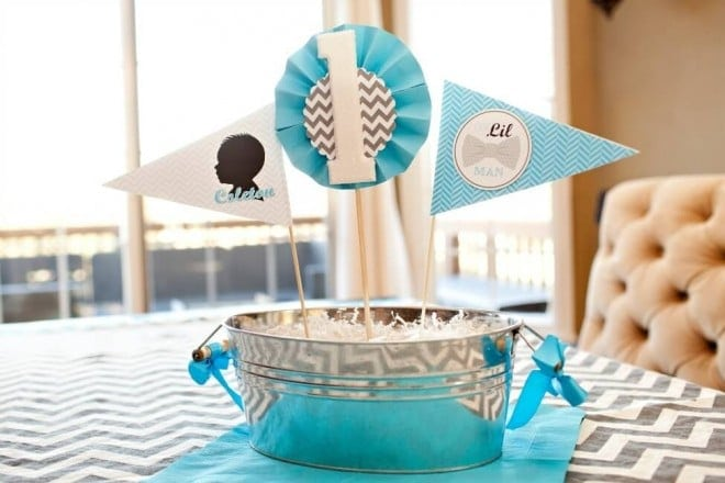 Bow tie themed boys birthday party centerpiece