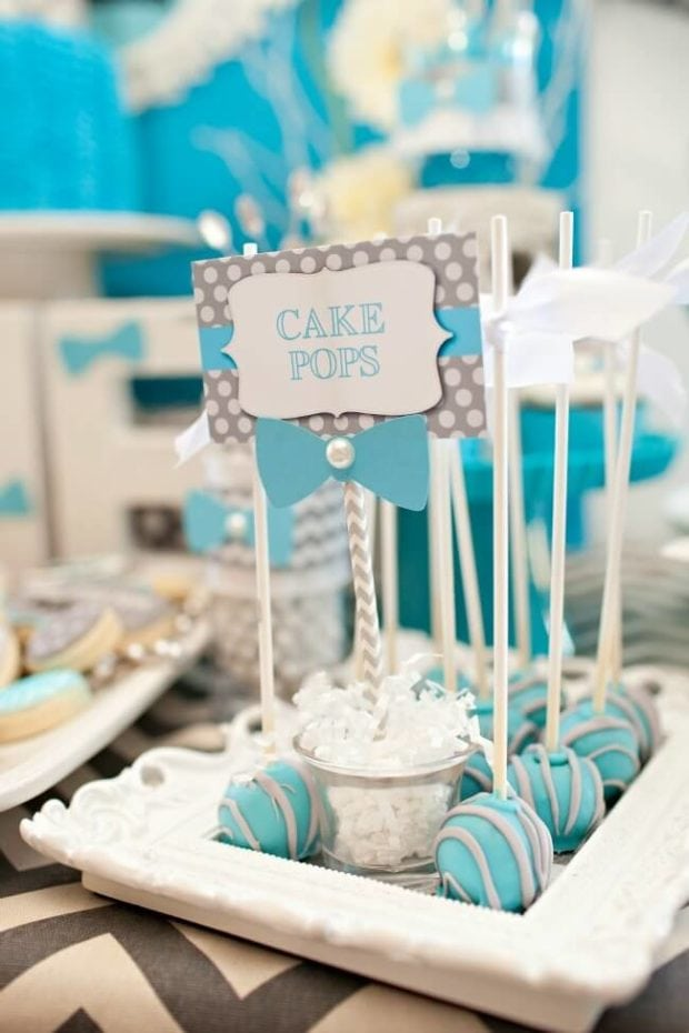 Boys Bow Tie Themed Birthday Party Cake Pop Ideas