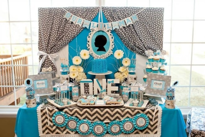 Boys Bow Tie Themed Birthday Party Dessert Table