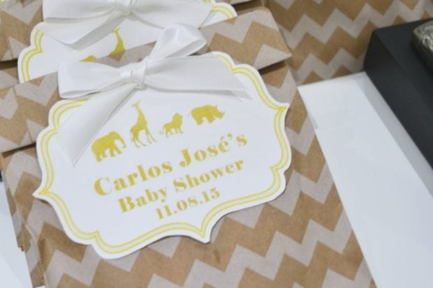 Gold Themed Animal Safari Baby Shower Favor ideas