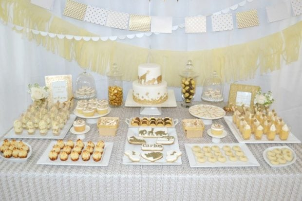 Beautiful Golden Animal Safari Baby Shower Desset Table Ideas