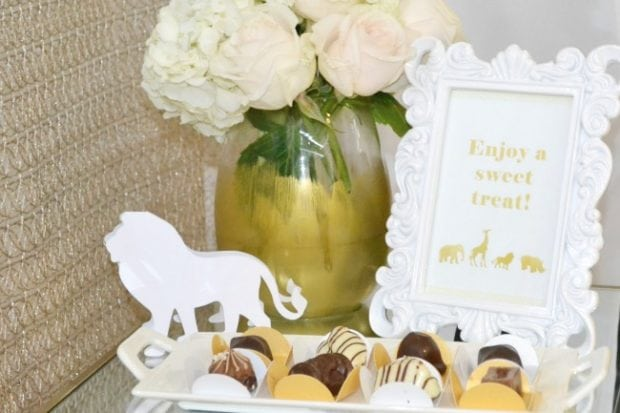 Golden Animal Safari Themed Baby Shower Treat Ideas