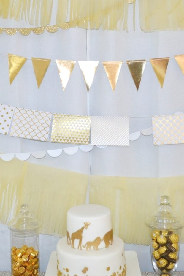 Golden Themed Animal Safari baby shower backdrop