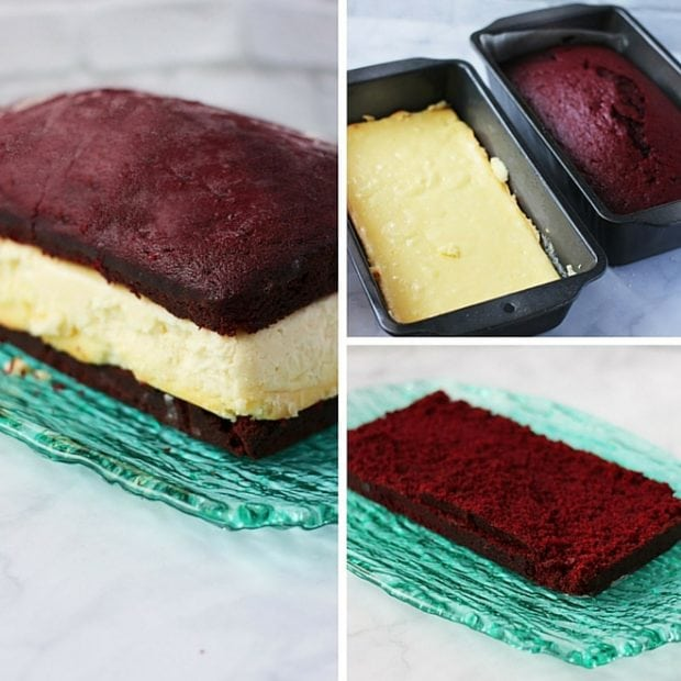 Layer the cheesecake and red velvet cake before icing.