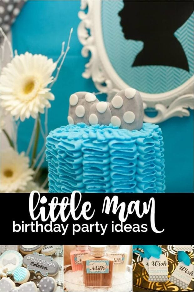 Little Man Bow Tie Themed Birthday Party Spaceships And Laser Beams