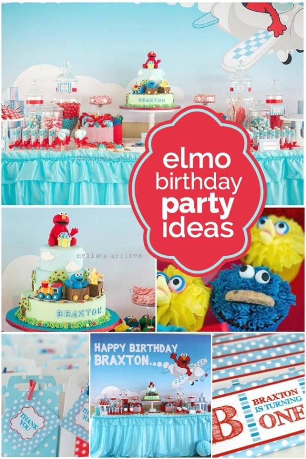 Elmo Themed Birthday Party Spaceships and Laser Beams