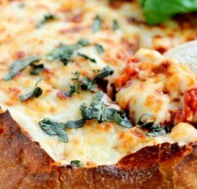 Cheesy Pizza Dip Bread Bowl
