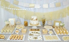 Golden Animal Safari Baby Shower Desset Table Ideas