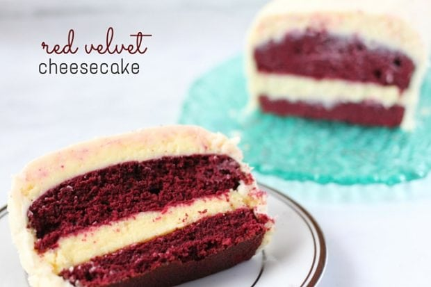 Red velvet cheesecake recipe. Delicious Valentine's Day treat.