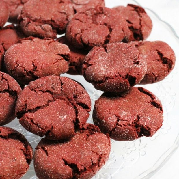 Crunchy, sugar-dusted red velvet cookies are the perfect party food.