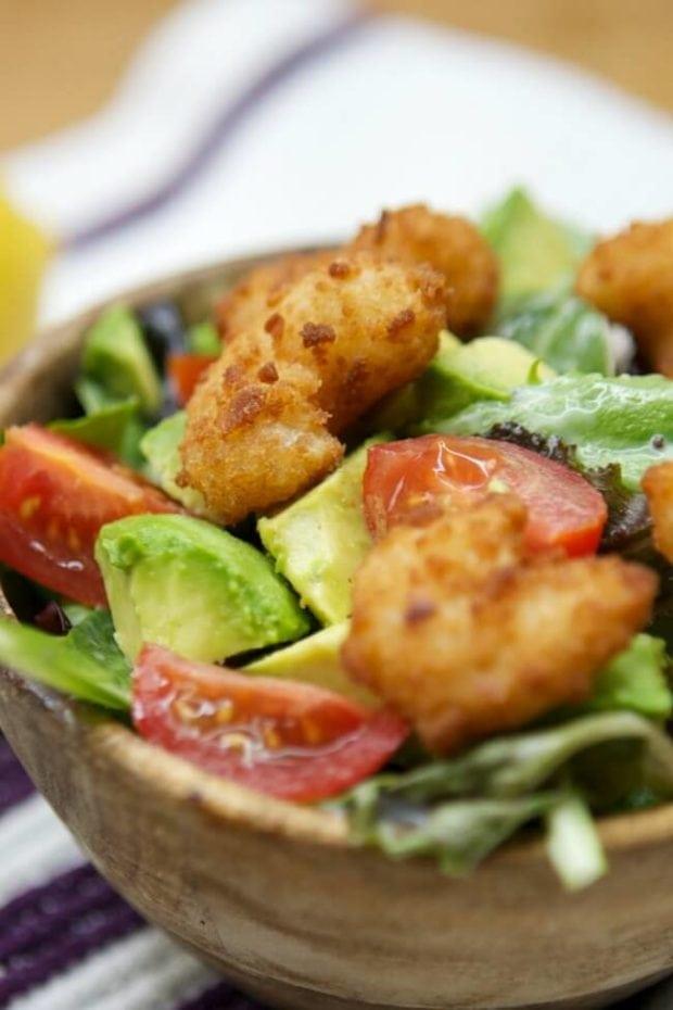 Fresh Salad with Popcorn Shrimp