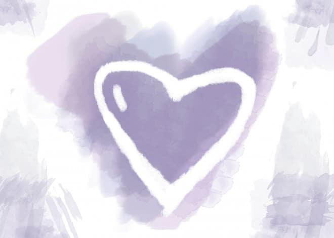 valentine watercolor purple