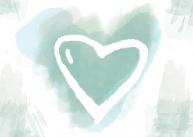 valentine watercolor teal