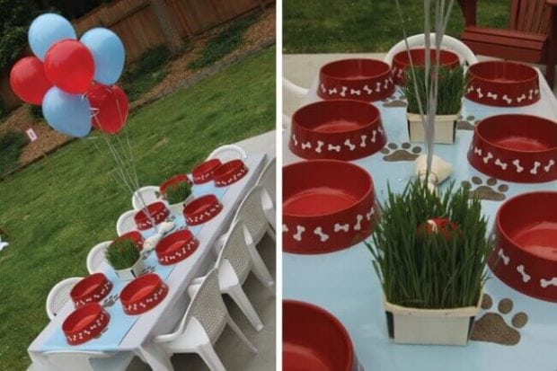 Dog Food Dish Place Settings for a PAW Patrol-themed birthday.