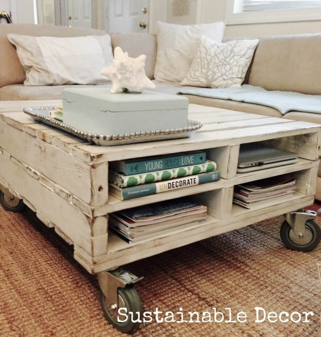 Make A Pallet Coffee Table On Wheels
