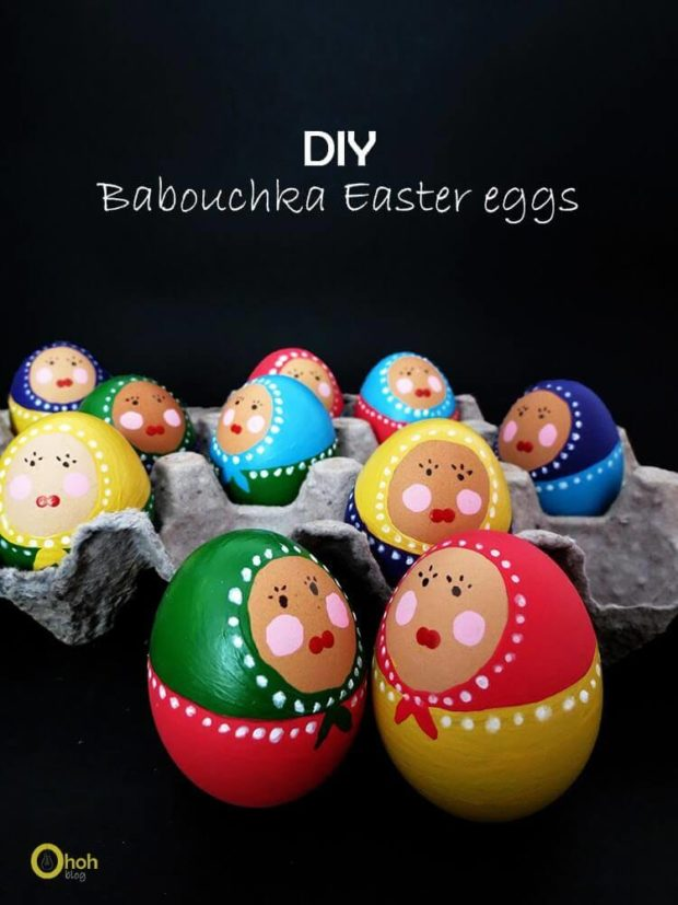 DIY Babouchka doll Easter eggs using nail polish